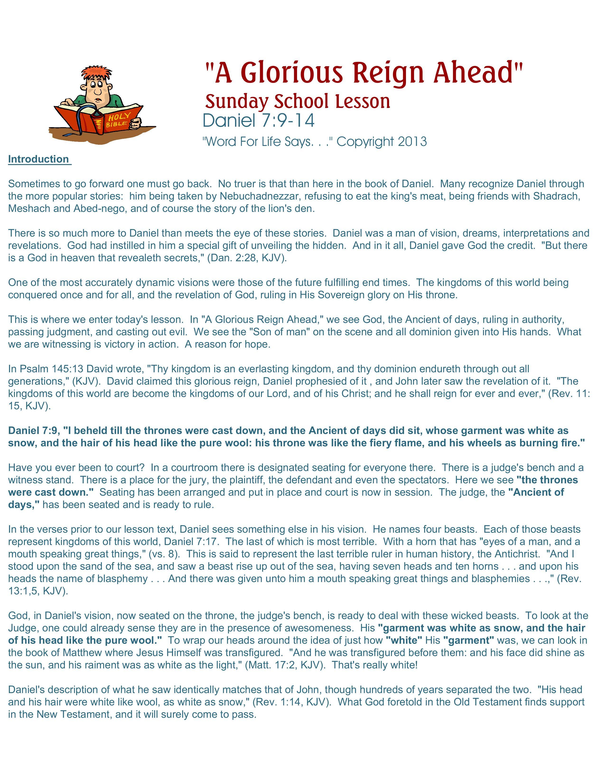 sunday lesson u201ca glorious reign ahead u201d daniel 7 9 14 word