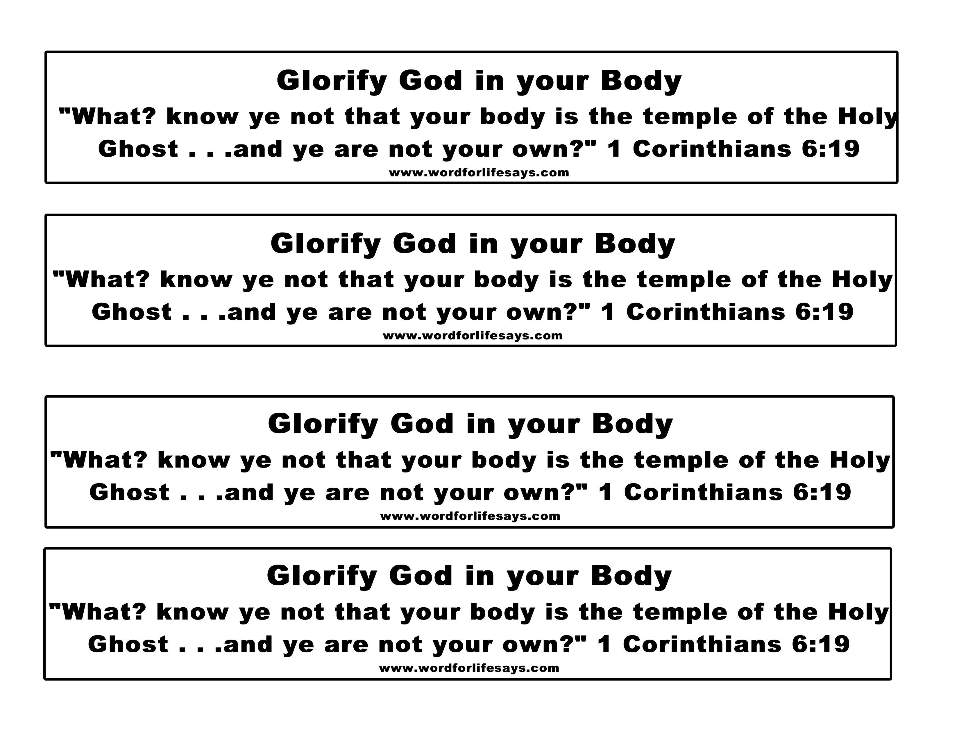 glorify god in your body u201d sunday lesson 1 corinthians 6 12