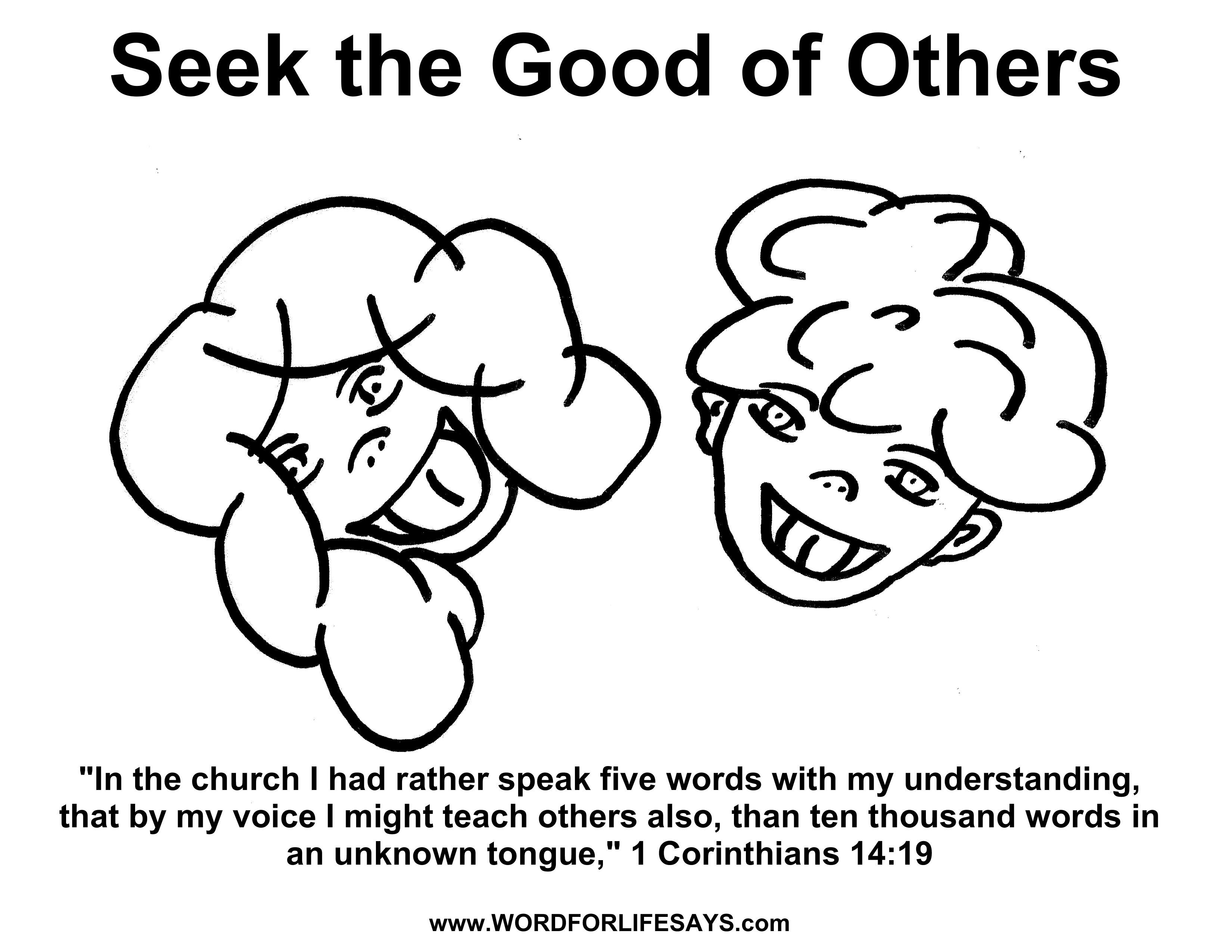 seek the good of others u201d sunday lesson 1 corinthians 14 13