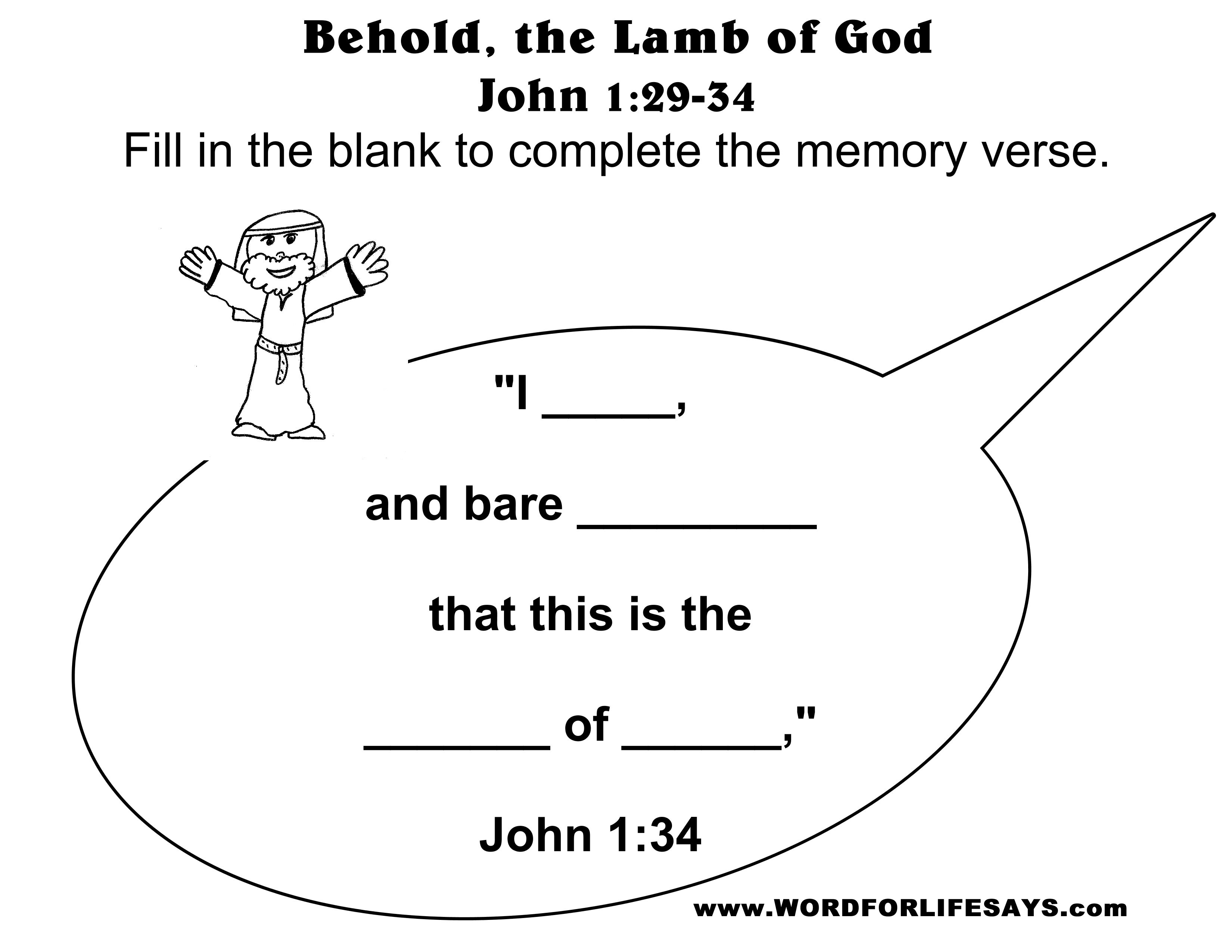 John The Baptist Bible School Coloring Pages John Best