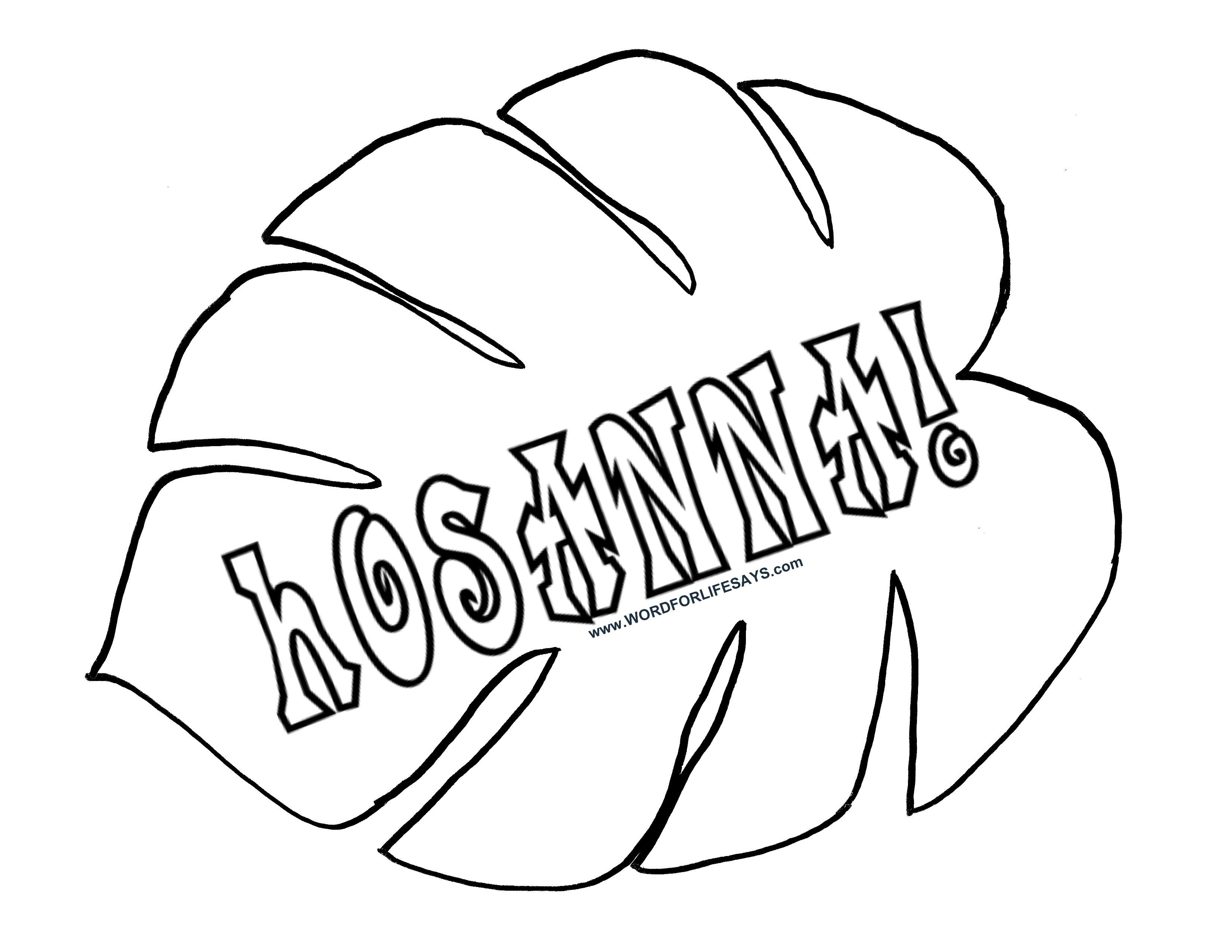 Free coloring pages for palm sunday - Hosanna Palm Leaf For Palm Sunday 001
