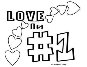 Love is Number One Coloring Sheet-001