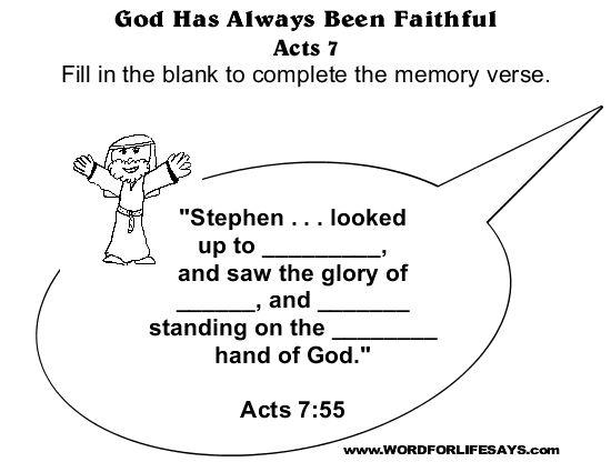 God Has Always Been Faithful Sunday School Lesson Acts 724 8