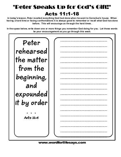 Peter Speaks Up For Gods Gift Journal Sheet 001