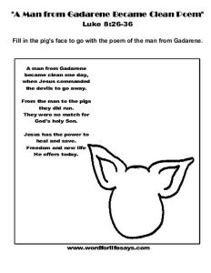 A Man from Gadarene Became Clean Poem Activity Sheet-001