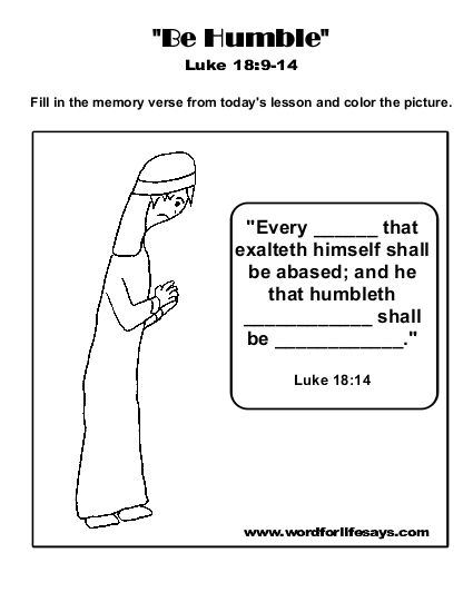 """Be Humble"""" Sunday School Lesson, Luke 18:9-14 