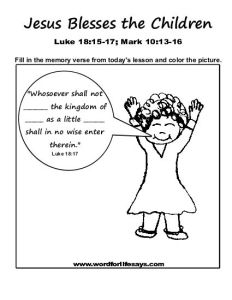 Jesus Blesses the Children Memory Verse-001