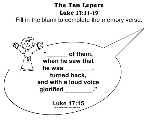 "The Ten Lepers: An Attitude of Gratitude"" Sunday School Lesson, Luke ..."