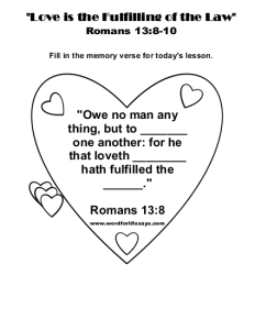 Love is the Fulfilling of the Law Memory Verse-001