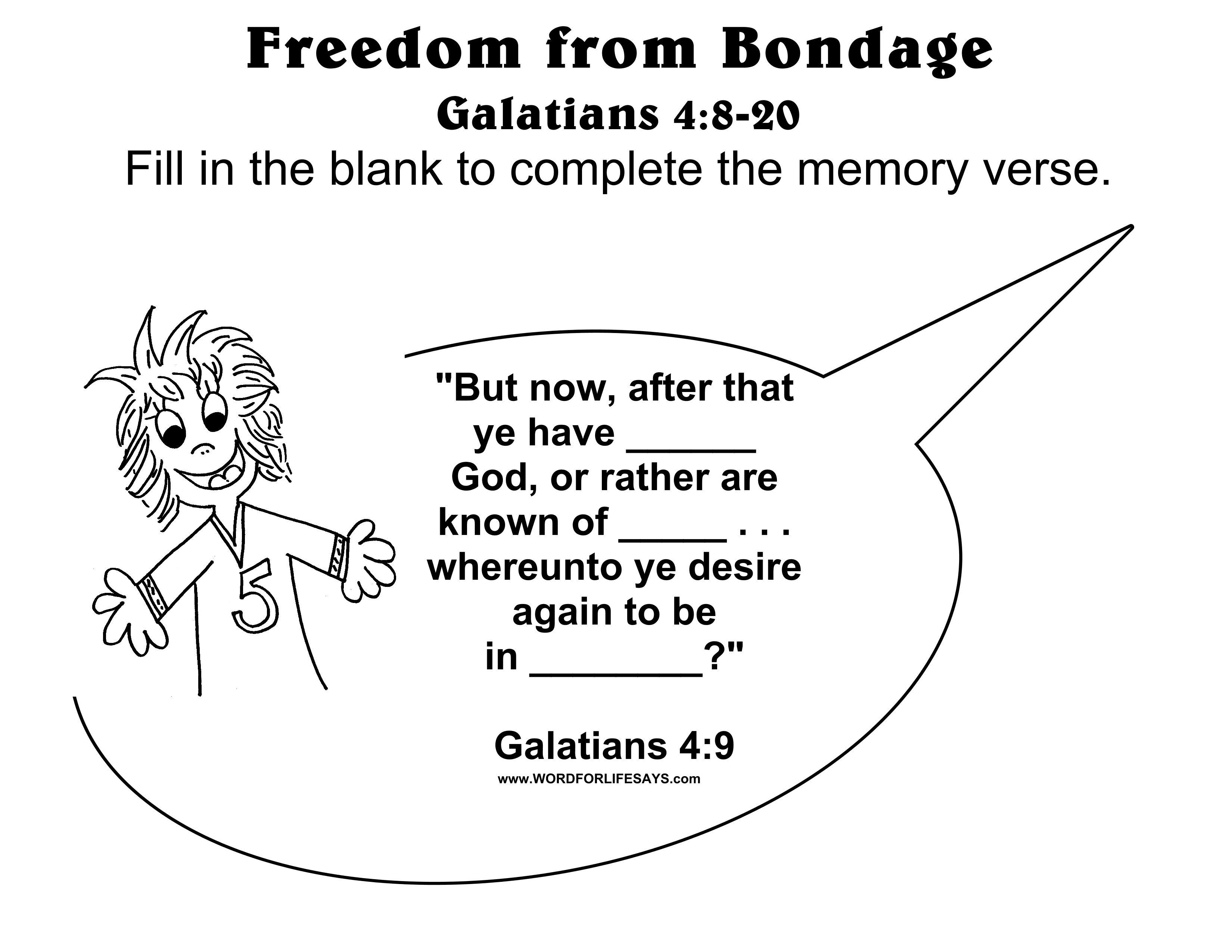 """Freedom from Bondage"""" Sunday School Lesson Galatians 4 8 20"""