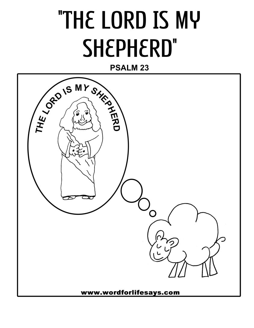 God is my light coloring page sketch coloring page for The lord is my shepherd coloring page