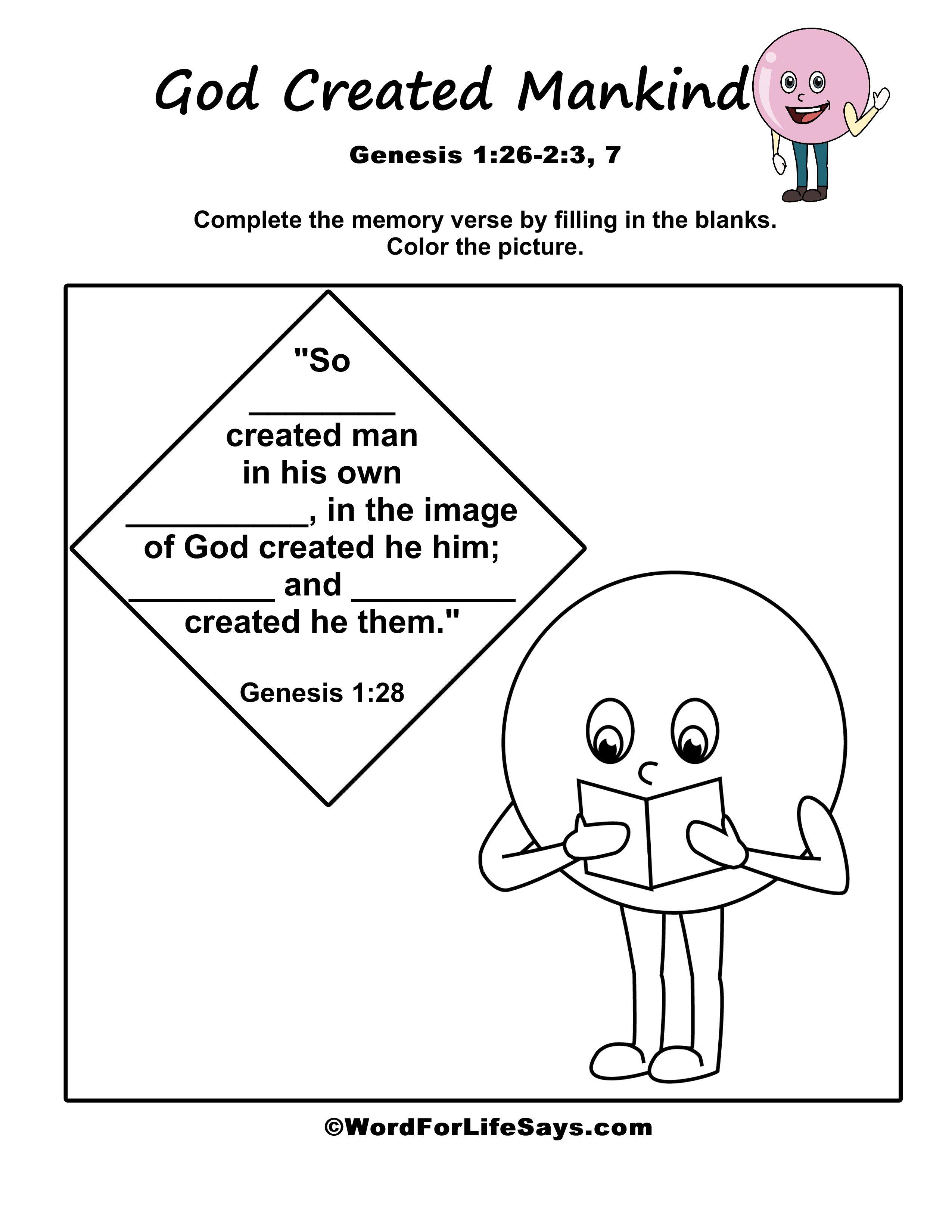 Memory Verse God Created Mankind