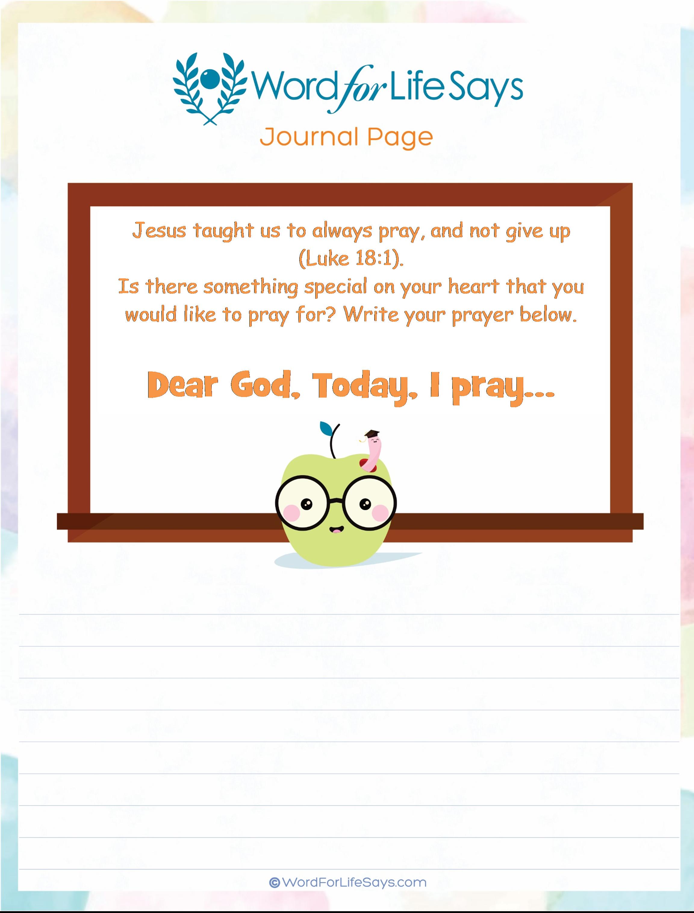 Children's Bible Activities – Word For Life Says…