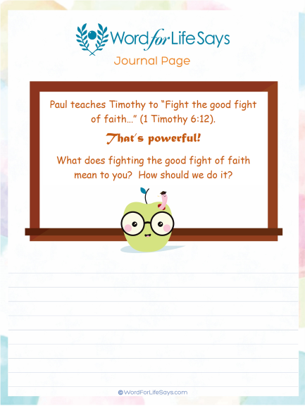 Kid's Journal Page - Pursuing the Good Fight of Faith