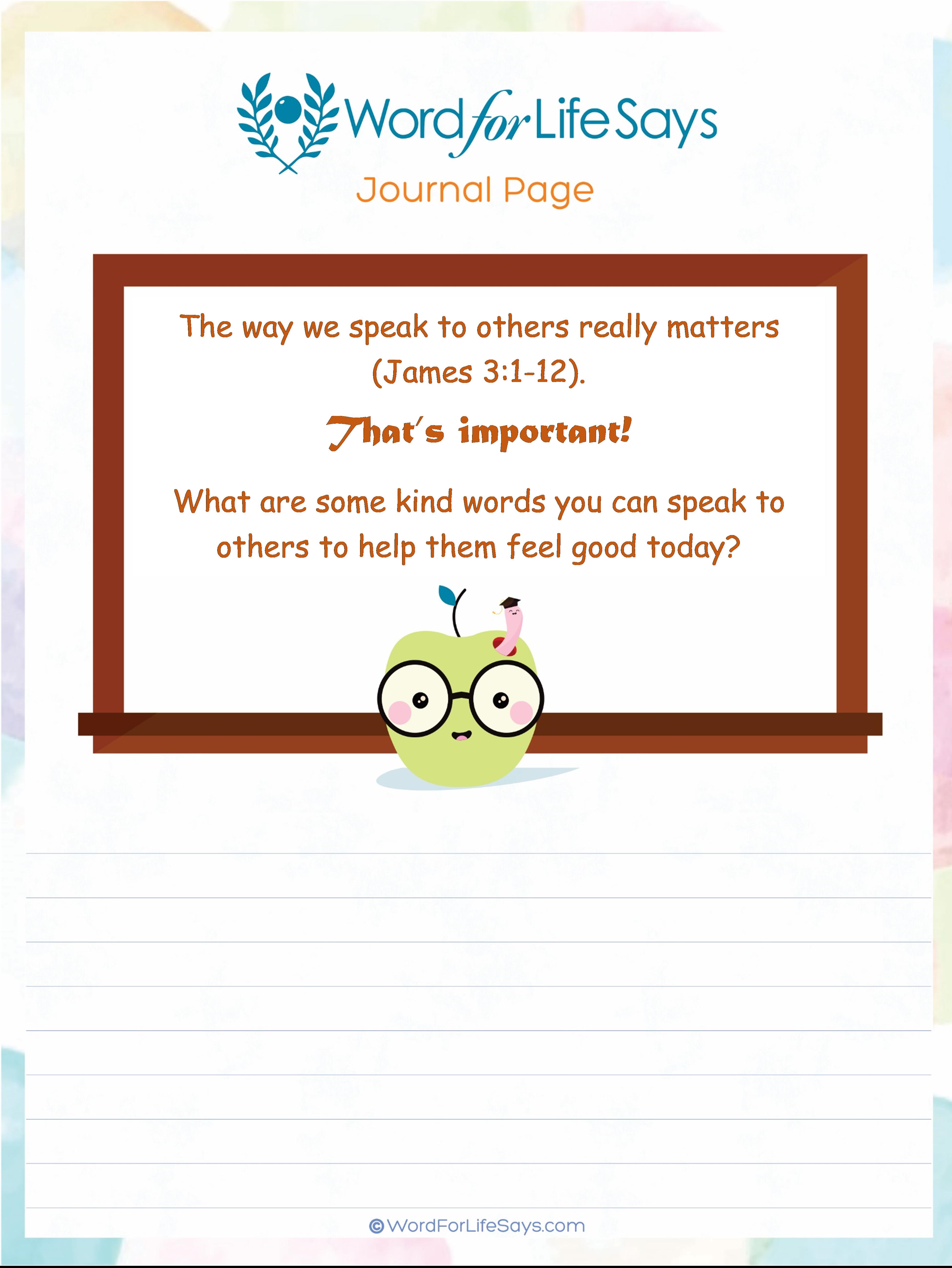 Kid's Journal Page - Speak Kindly